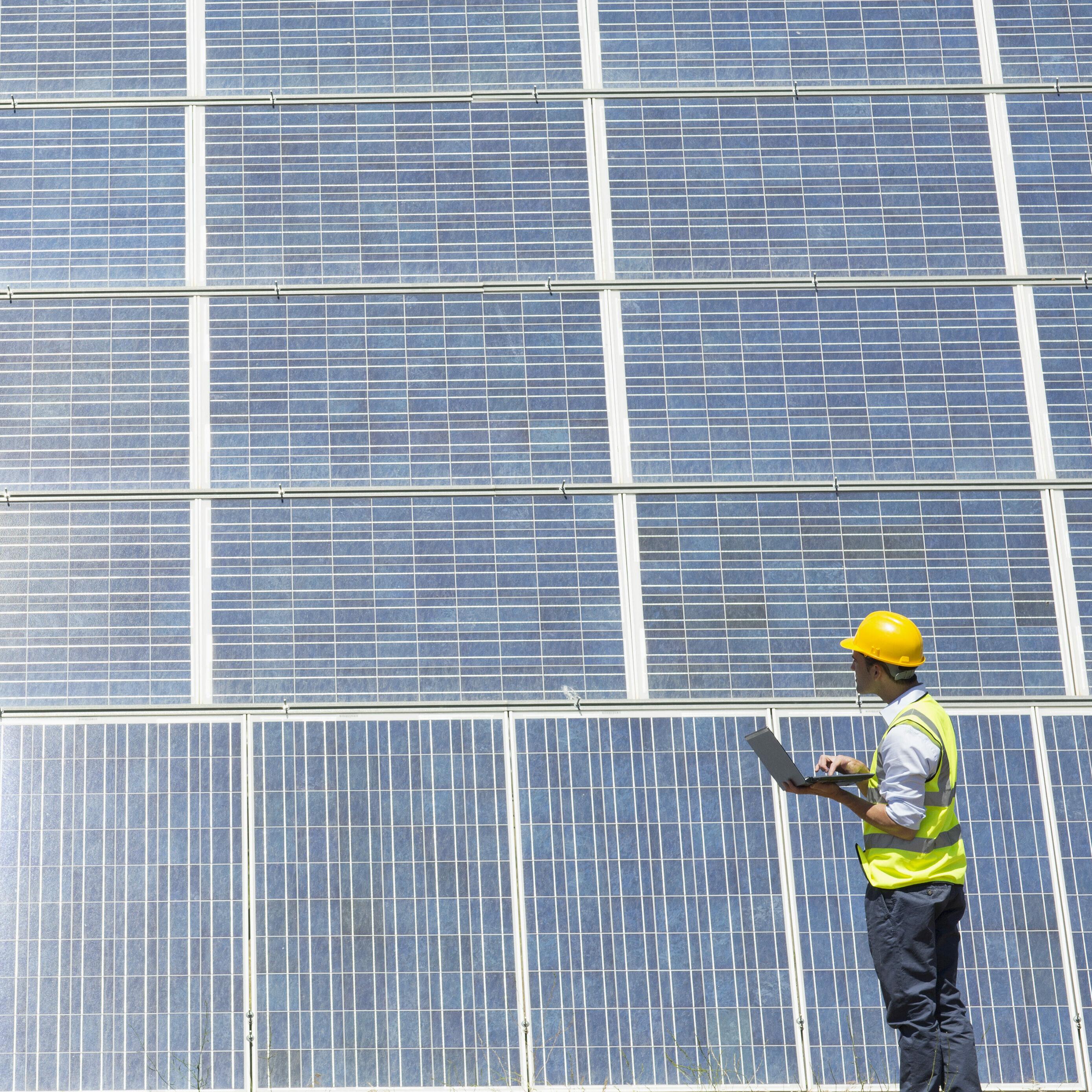 Engineer with laptop examining sunny solar panels